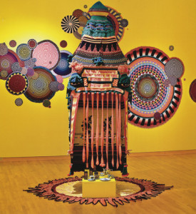 Xenobia Bailey, Sistah Paradise's Great Wall of Fire Revival Tent (1993/1999/2009), acrylic and cotton yarn, 144 x 60 x 60 in. (p. 185 in Fiber: Sculpture 1960-Present, photographed 2009 in the John Michael Kohler Arts Center, Sheboygan, Wisconsin), in Fiber: Sculpture 1960 - Present