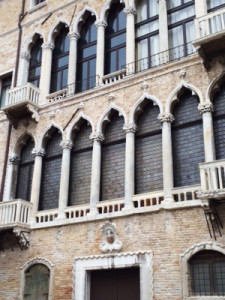 Front of the Museo Fortuny, a palazzo constructed in Venice near the end of the 15th century by the Pesaro family.